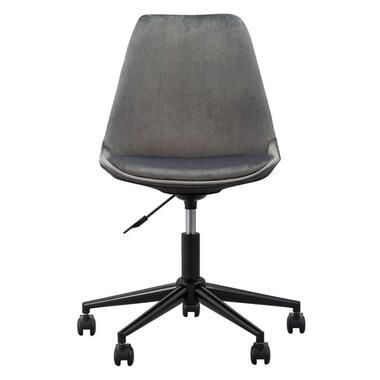 Bureaustoel Senja - velvet - grijs - zwart metaal - Leen Bakker