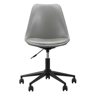 Bureaustoel Senja - lederlook - grijs - zwart metaal - Leen Bakker