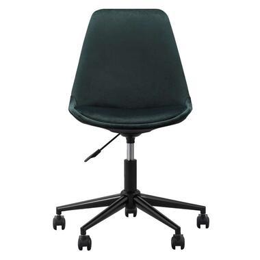 Bureaustoel Senja - velvet - groen - zwart metaal - Leen Bakker
