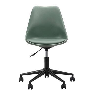 Bureaustoel Senja - kunststof - groen - zwart metaal - Leen Bakker