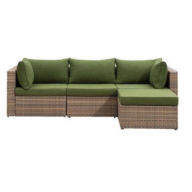 Le Sud modulaire loungeset Dordogne taupe/groen - 4-delig - Leen Bakker