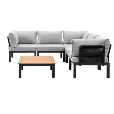 Le Sud modulaire loungeset Ardeche V1 - lichtgrijs - 6-delig - Leen Bakker