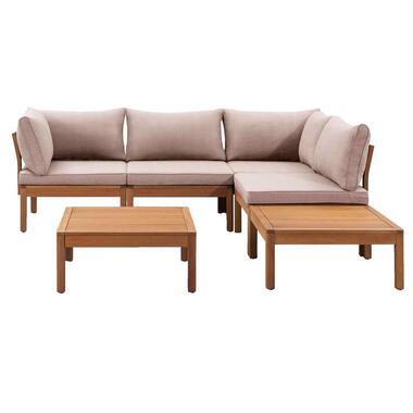 Le Sud modulaire loungeset Orleans V1 - taupe - 6-delig - Leen Bakker