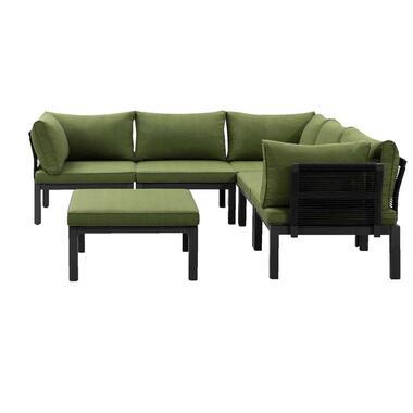 Le Sud modulaire loungeset Ardeche V2 - groen - 6-delig - Leen Bakker
