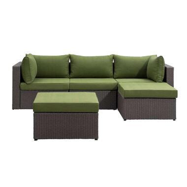 Le Sud modulaire loungeset Dordogne V1 - antraciet/groen - 5-delig - Leen Bakker