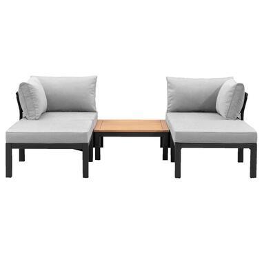 Le Sud modulaire loungeset Ardeche V2 - lichtgrijs - 5-delig - Leen Bakker