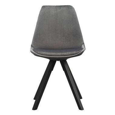Eetkamerstoel Senja - velvet - grijs - zwart hout - Leen Bakker