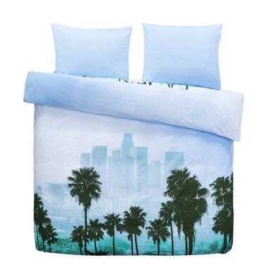 Comfort dekbedovertrek Los Angeles - blauw/groen - 200x200/220 cm - Leen Bakker