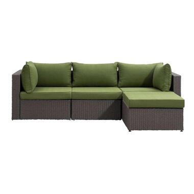Le Sud modulaire loungeset Dordogne antraciet/groen - 4-delig - Leen Bakker