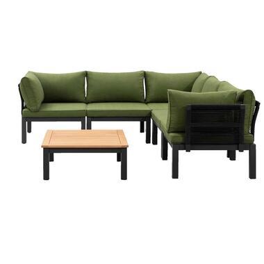 Le Sud modulaire loungeset Ardeche V1 - groen - 6-delig - Leen Bakker