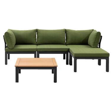 Le Sud modulaire loungeset Ardeche V1 - groen - 5-delig - Leen Bakker