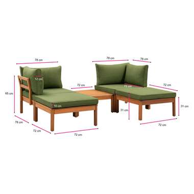 Le Sud modulaire loungeset Orleans V2 - groen - 5-delig - Leen Bakker