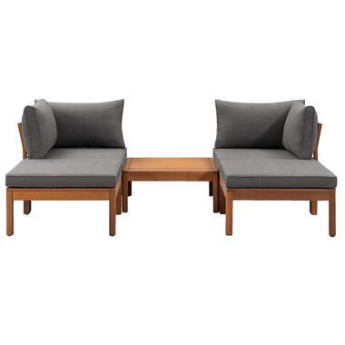 Le Sud modulaire loungeset Orleans V2 - donkergrijs - 5-delig - Leen Bakker