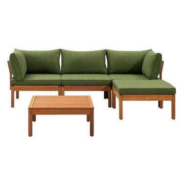 Le Sud modulaire loungeset Orleans V1 - groen - 5-delig - Leen Bakker