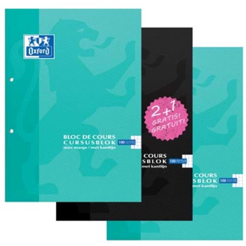Oxford Cursusblok 2 + 1 Gratis, Geassorteerde Kleuren, Ft A4, 100 Vel, Commercieel Geruit
