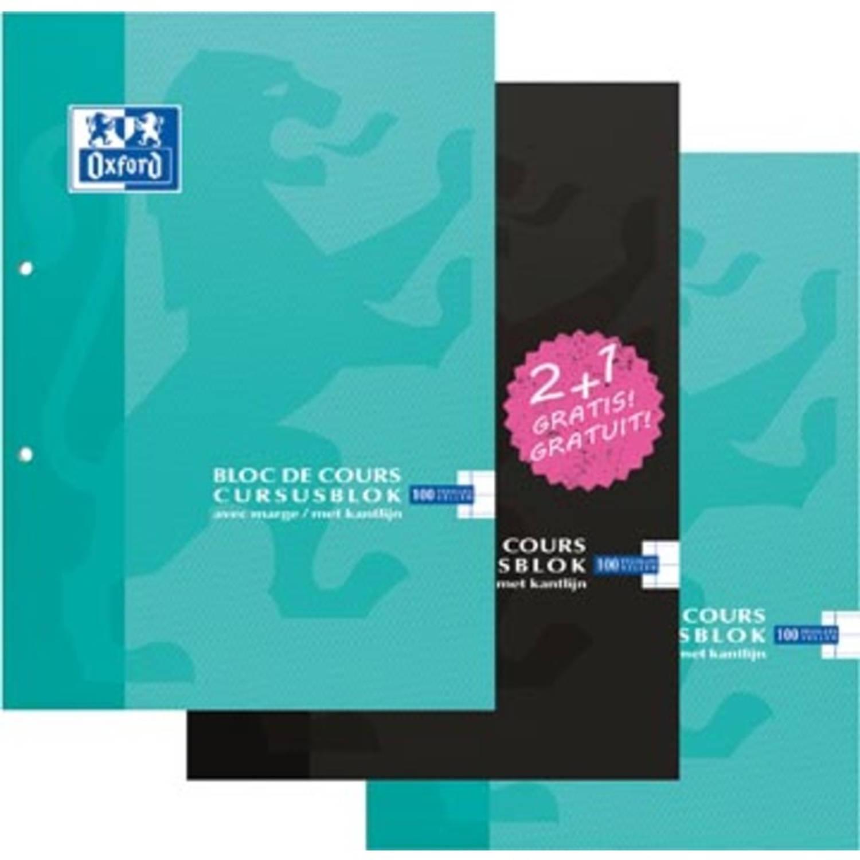 Oxford School Cursusblok 2 + 1 Pakket, Ft A4, 100 Vel, Gelijnd, Display Met 162 Pakketen