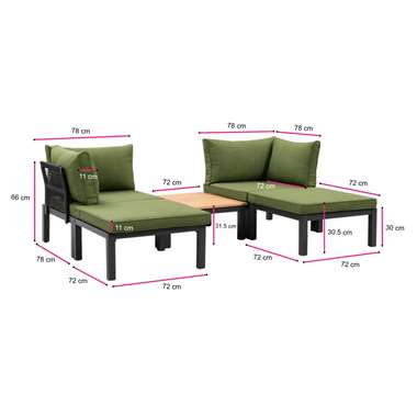 Le Sud modulaire loungeset Ardeche V2 - groen - 5-delig - Leen Bakker