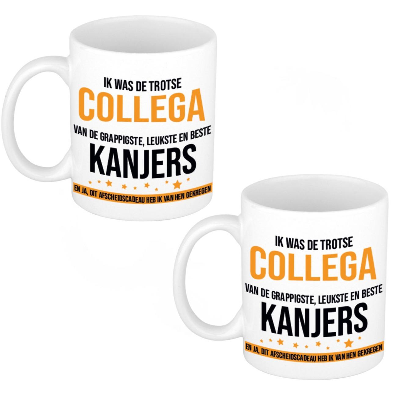 10x stuks trotse collega kanjers afscheidscadeau koffiemok / theebeker 300 ml -