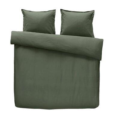 Walra dekbedovertrek Just a Colour - groen - 200x200/220 cm - Leen Bakker
