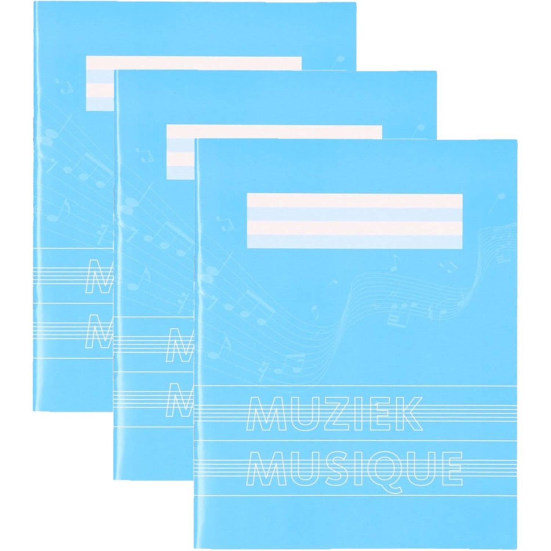 5x Stuks A5 Schriften / Schoolschrift Blauw Met Muzieknoten - 18 Bladzijden 23 Lijns