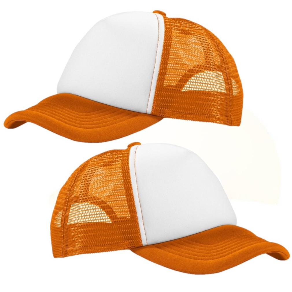 4x stuks truckers cap oranje/wit voor volwassenen -