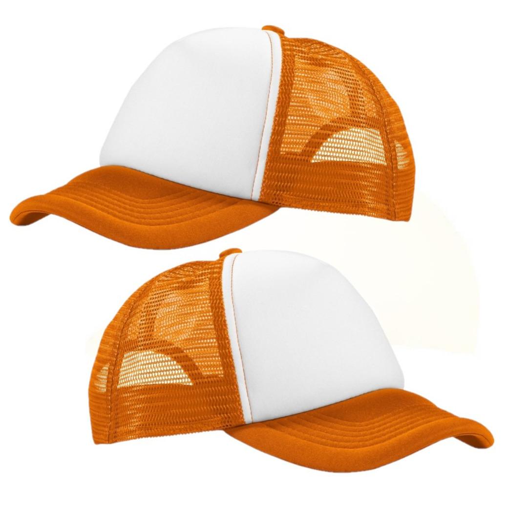 6x stuks truckers cap oranje/wit voor volwassenen -