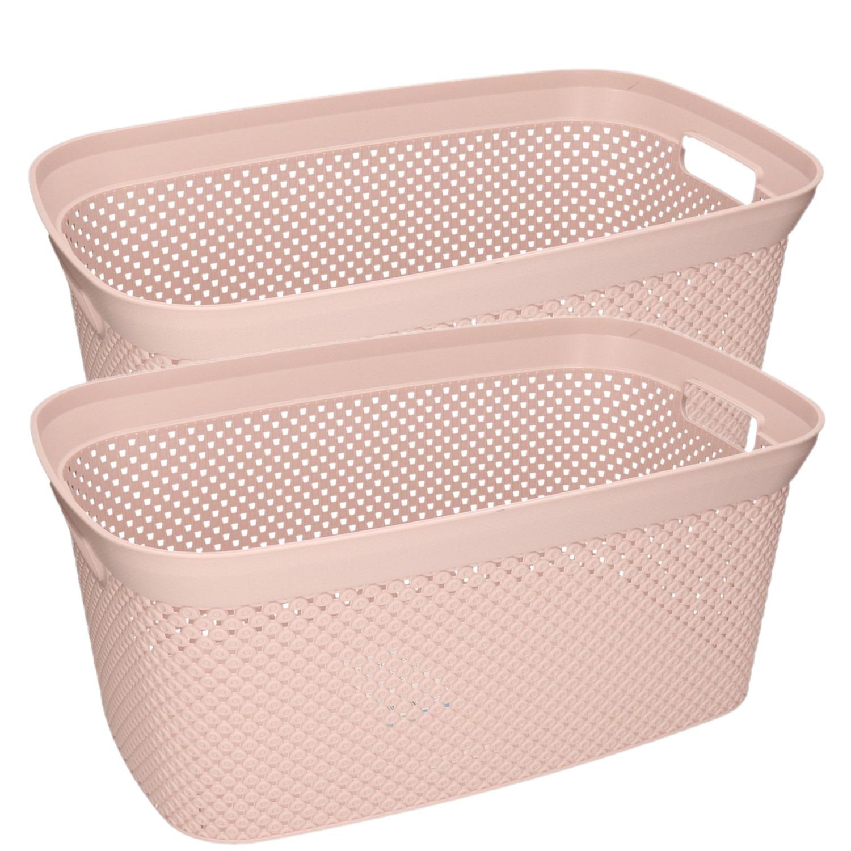 3x Roze wasmanden 35 liter 54 x 34 x 23 cm huishouden -