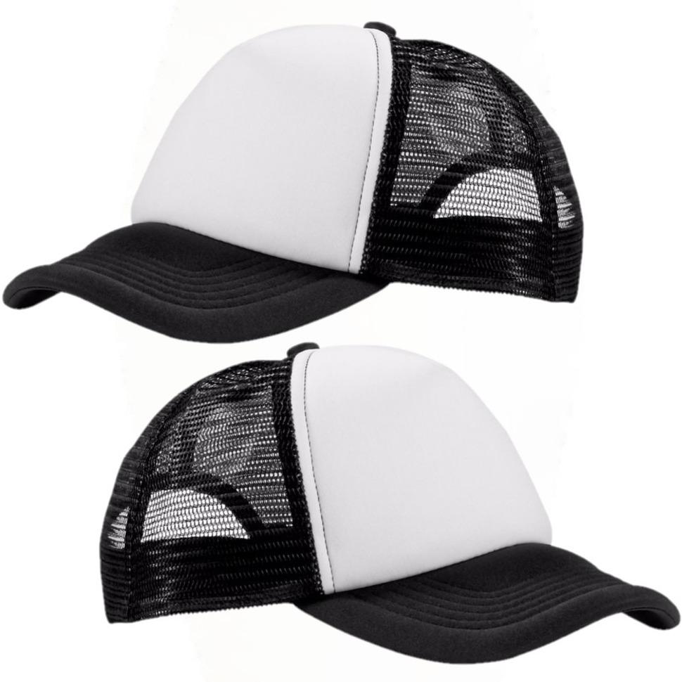2x stuks truckers baseballcap zwart/wit -