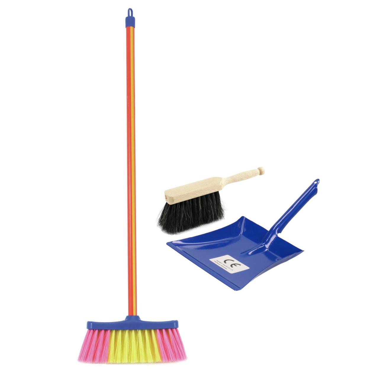 Speelgoed schoonmaak set stoffer en blik blauw met gekleurde bezem -