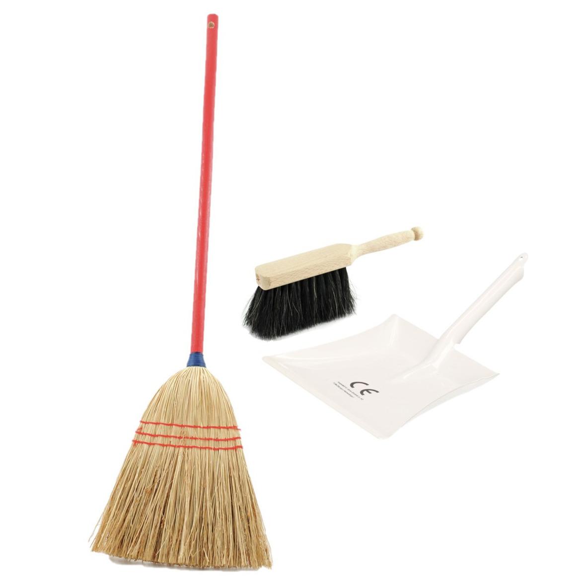 Kinder schoonmaak set 3-delig wit -