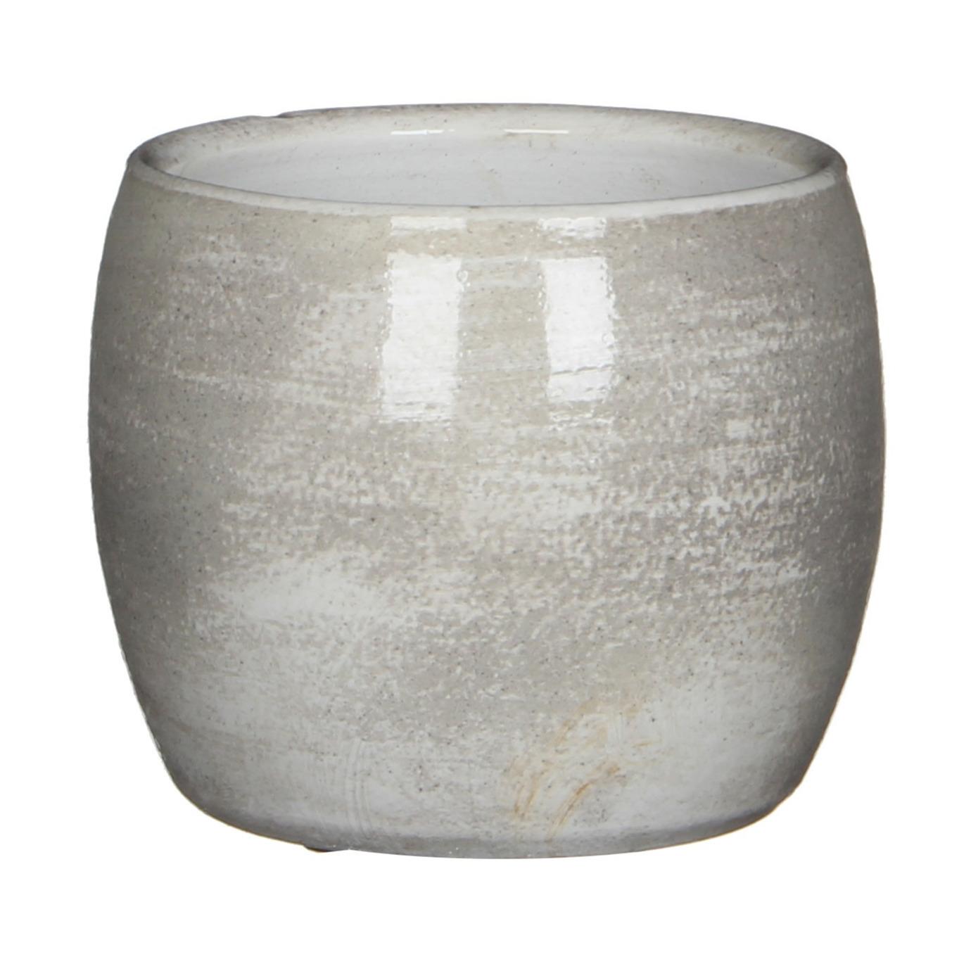 Bloempot in het shiny lichtgrijs stone keramiek voor kamerplant H12 x D14 cm -