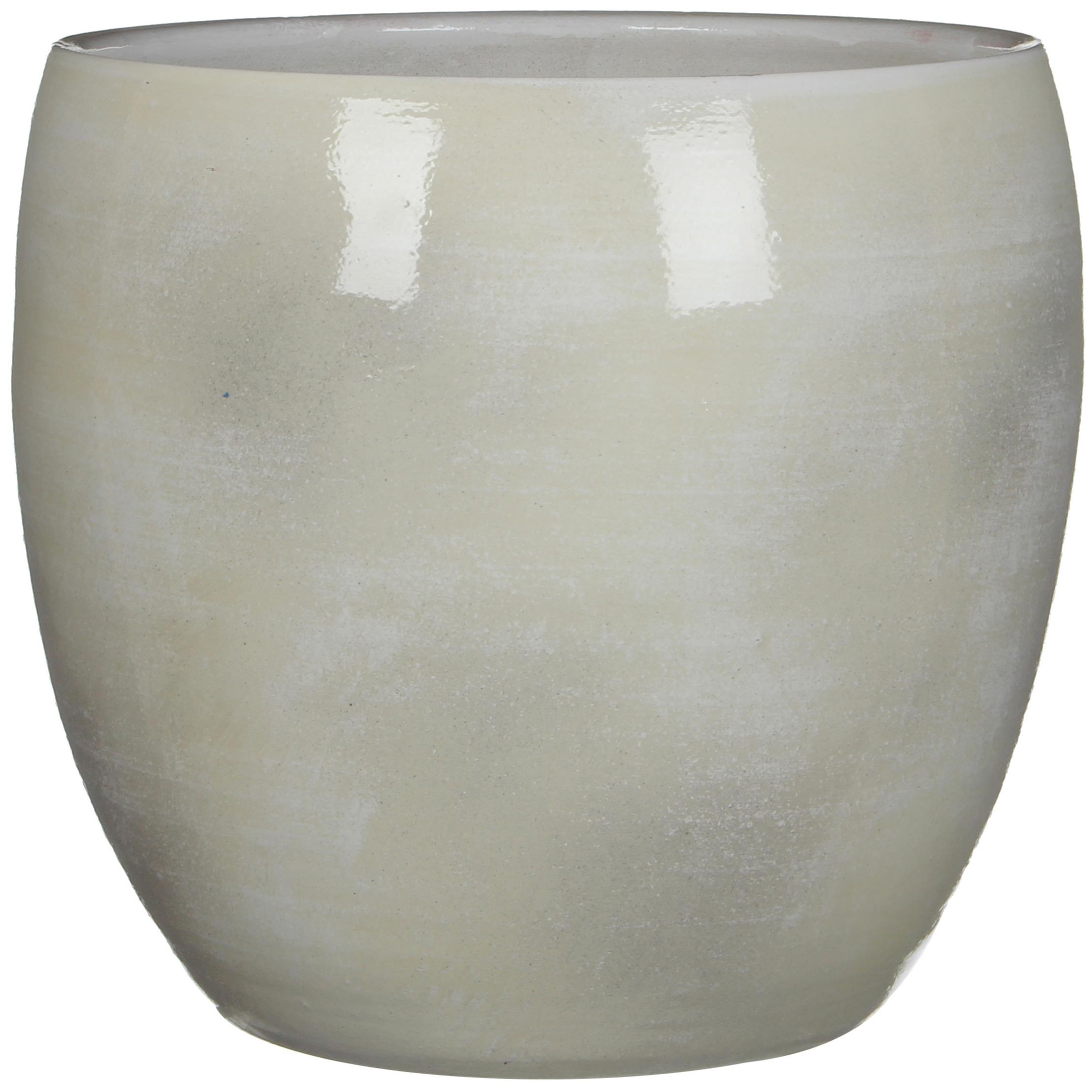 Bloempot in het shiny lightgrey stone keramiek voor kamerplant H31 x D33 cm -