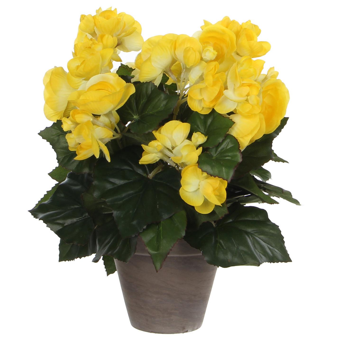 Gele Begonia kunstplant 30 cm in grijze pot -