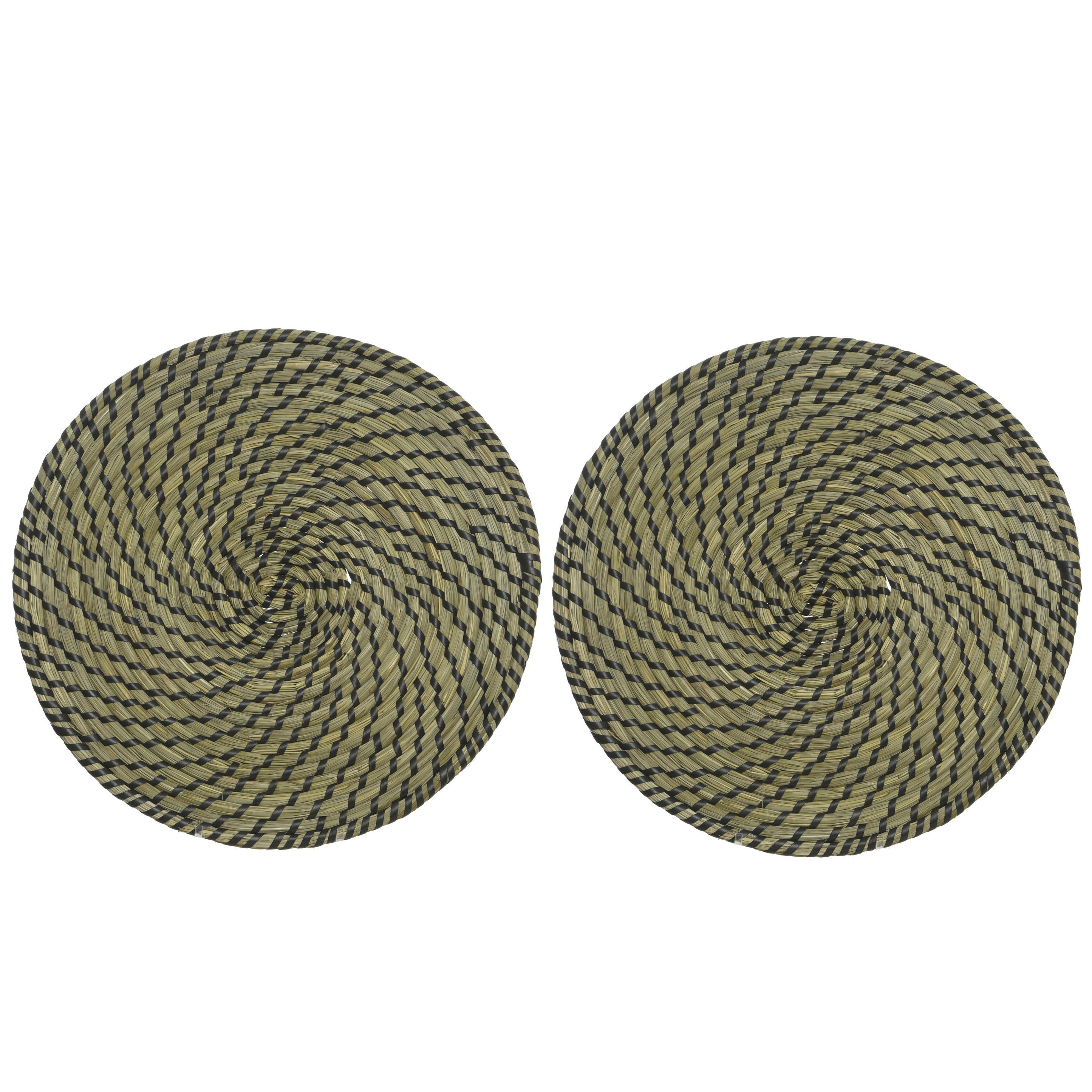 12x stuks placemats rond groen/zwart zeegras 38 cm -