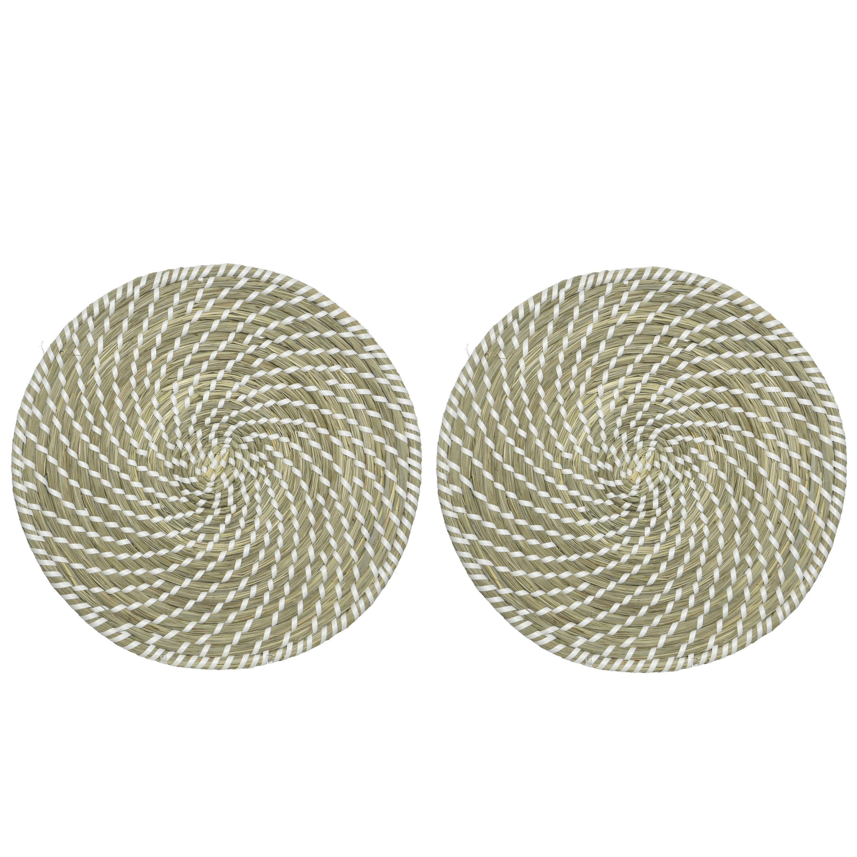 10x stuks placemats rond groen/wit zeegras 38 cm -