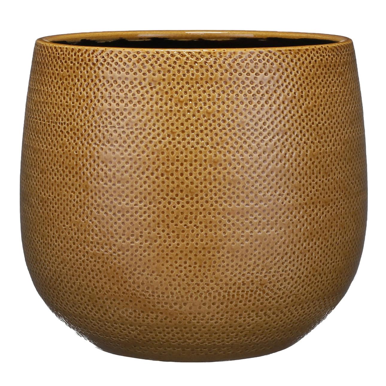 Bloempot okergeel ribbels keramiek voor kamerplant H25 x D29 cm -
