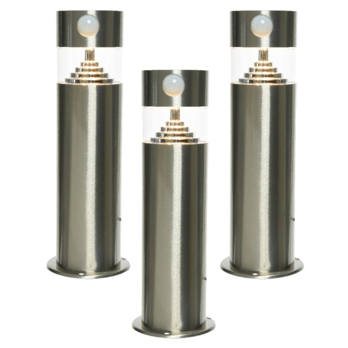 Set van 3x stuks solar tuinlamp/prikspot met bewegingssensor cilinder op zonne-energie 30 cm -