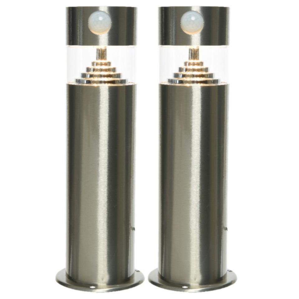 Set van 2x stuks solar tuinlampen/prikspots met bewegingssensor cilinder op zonne-energie 50 cm -