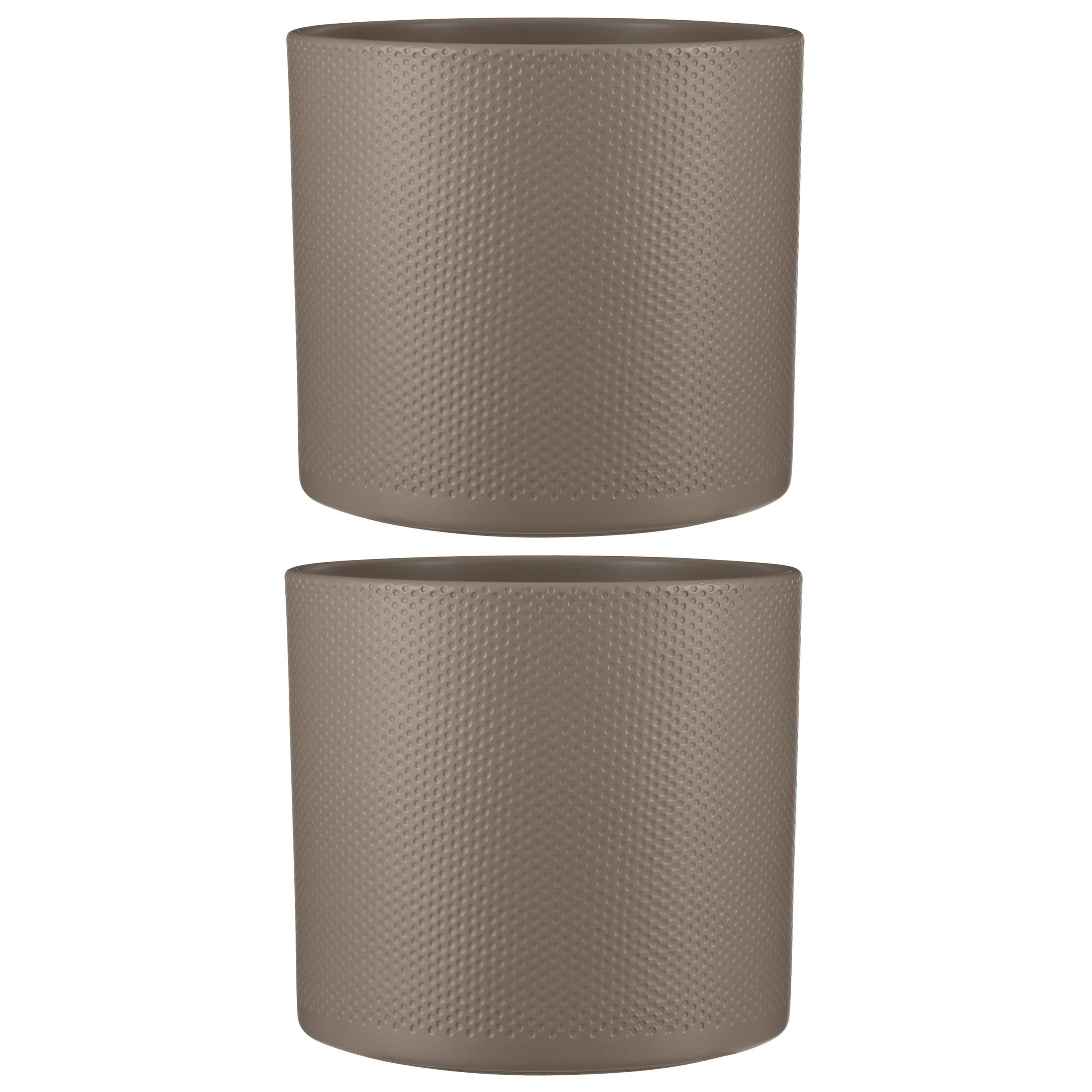 2x stuks bloempot in het relief taupe keramiek voor kamerplant H26 x D28 cm -