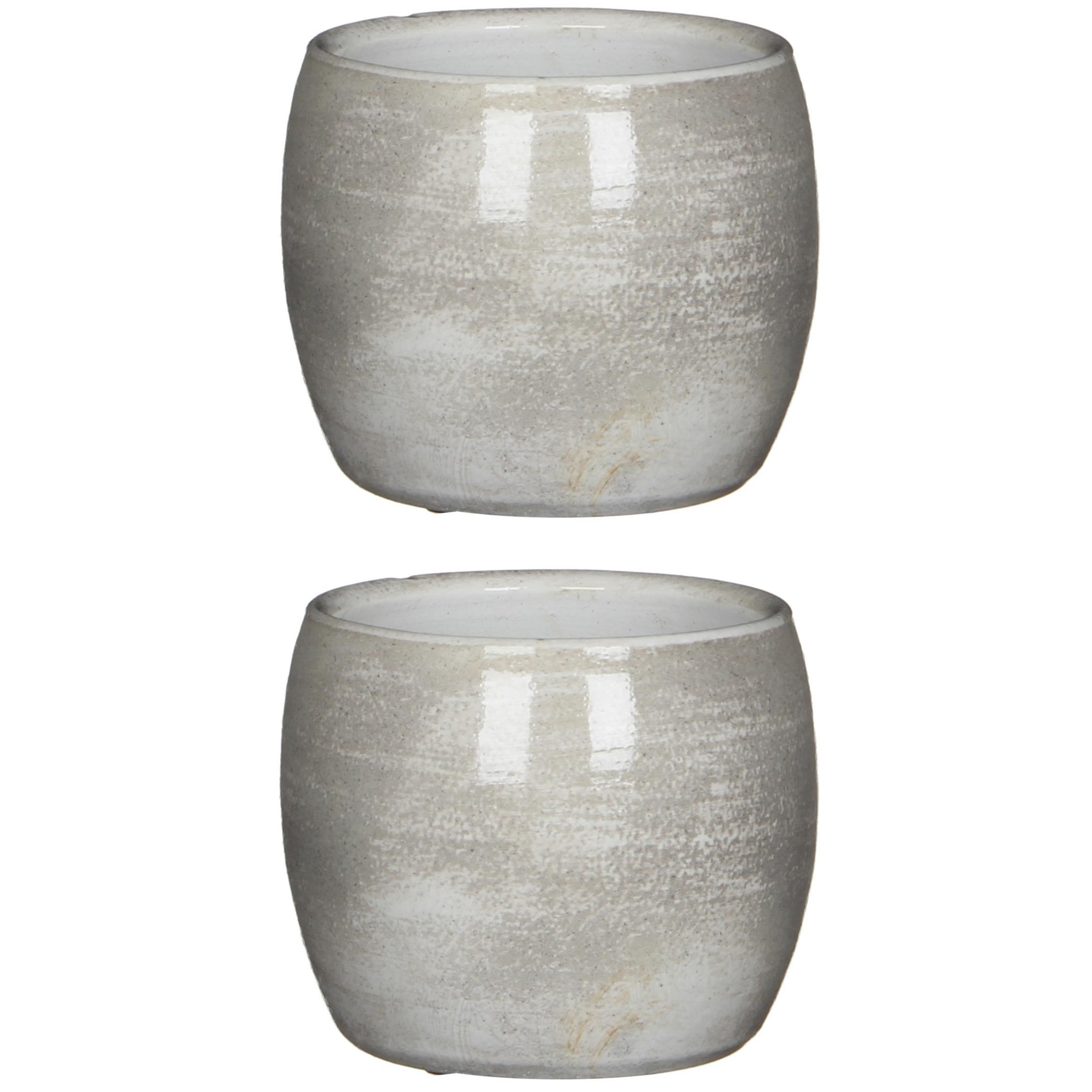 3x stuks bloempot in het shiny lichtgrijs stone keramiek voor kamerplant H12 x D14 cm -