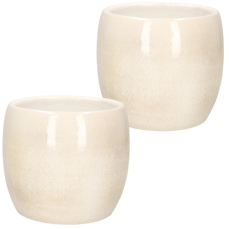 2x stuks bloempot in het shiny lightgrey stone keramiek voor kamerplant H14 x D16 cm -