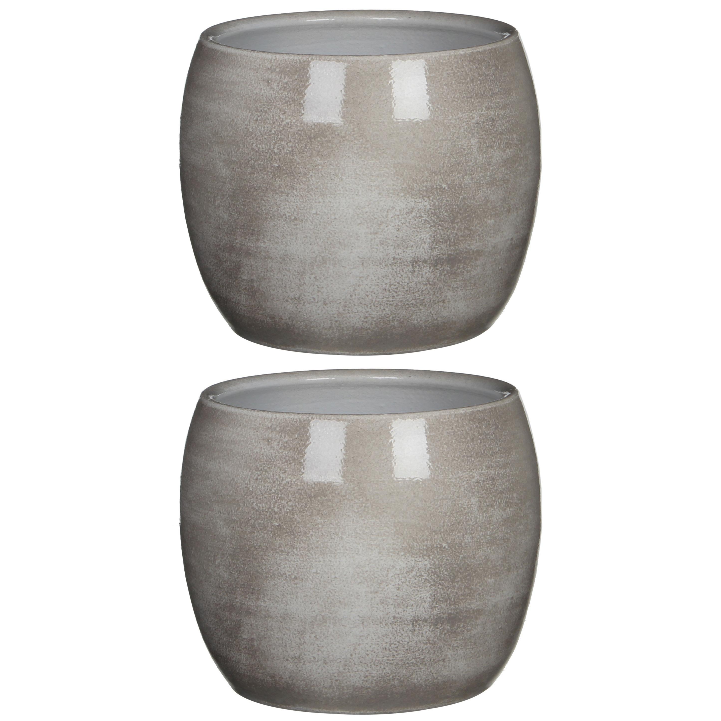 2x stuks bloempot in het shiny lightgrey stone keramiek voor kamerplant H18 x D20 cm -