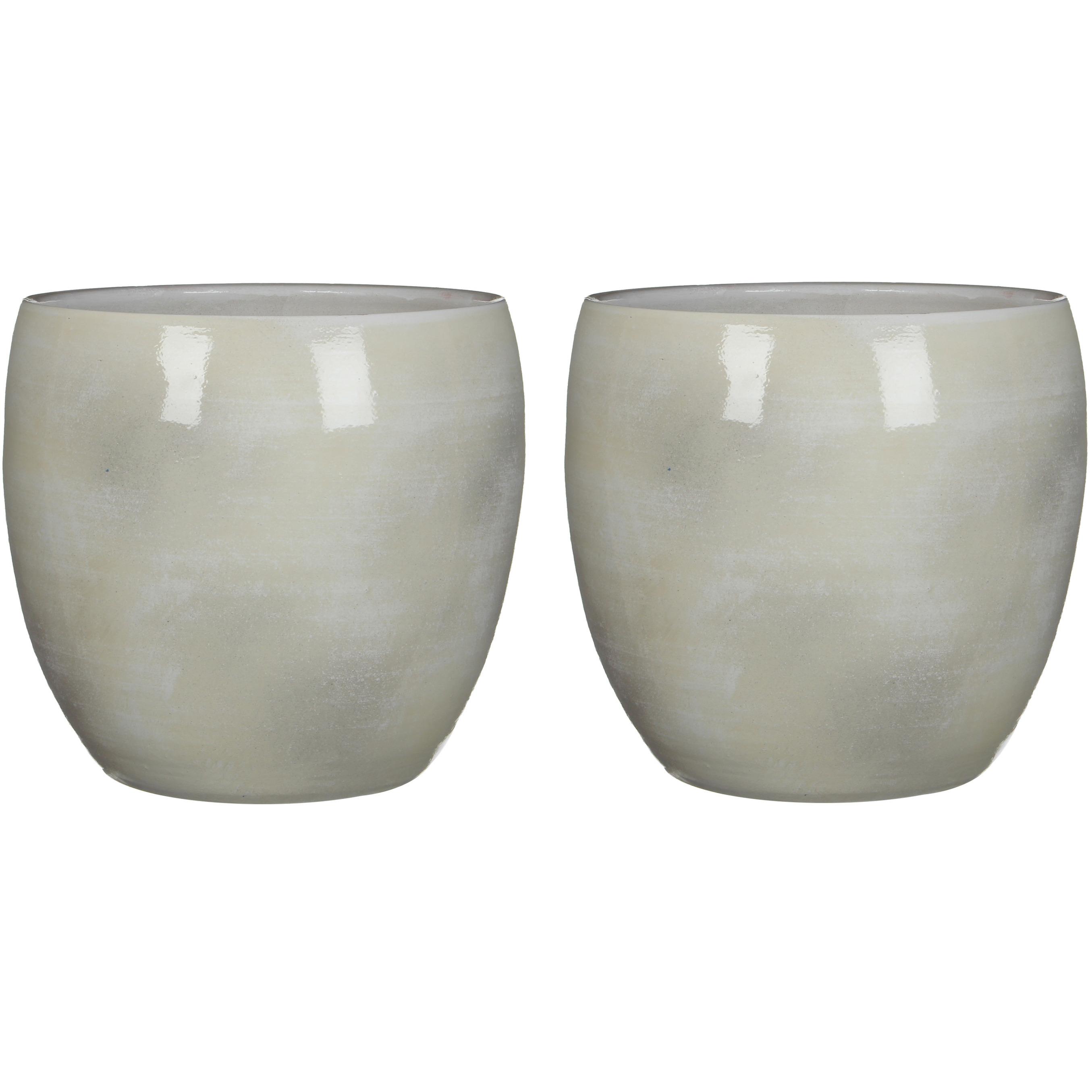 2x stuks bloempot in het shiny lightgrey stone keramiek voor kamerplant H31 x D33 cm -