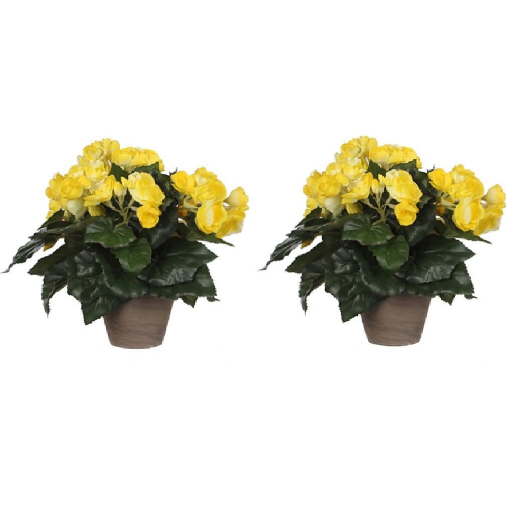 2x stuks gele Begonia kunstplant 30 cm in grijze pot -