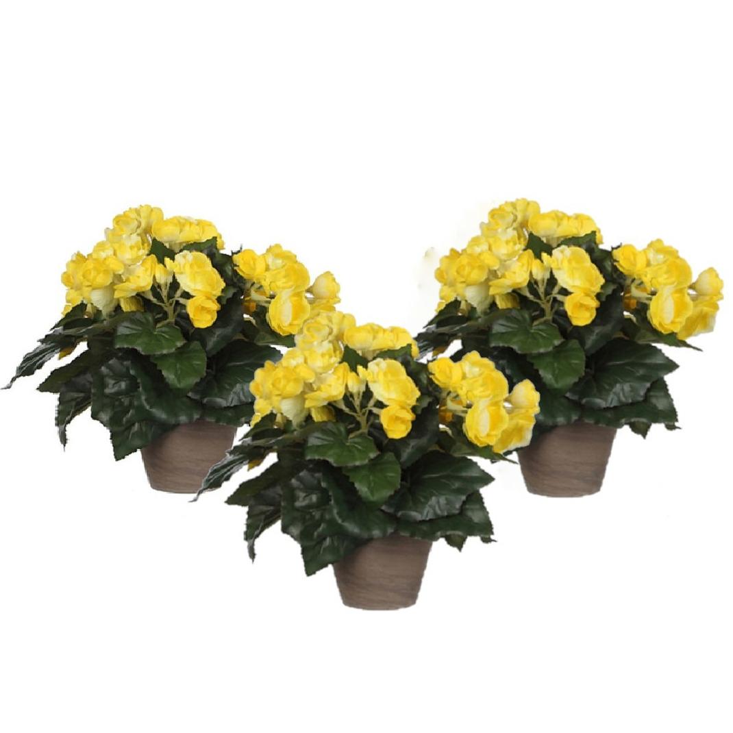 3x stuks gele Begonia kunstplant 30 cm in grijze pot -