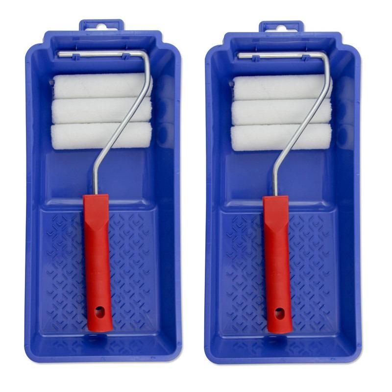 2x stuks lakroller/schuimroller schildersets 10 cm met verfbak en beugel -