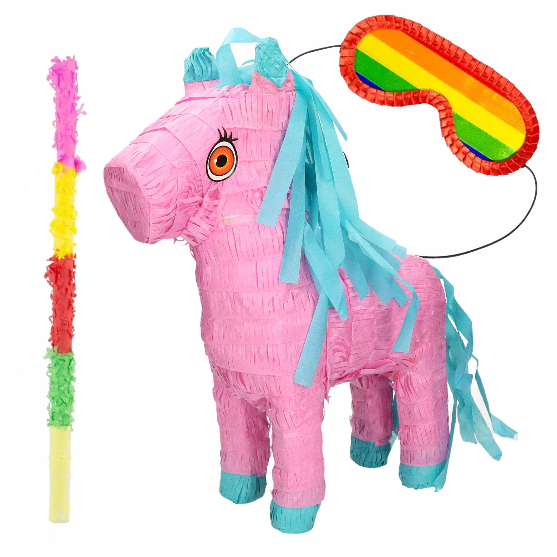 Pinata van een Paard set met masker en stok -