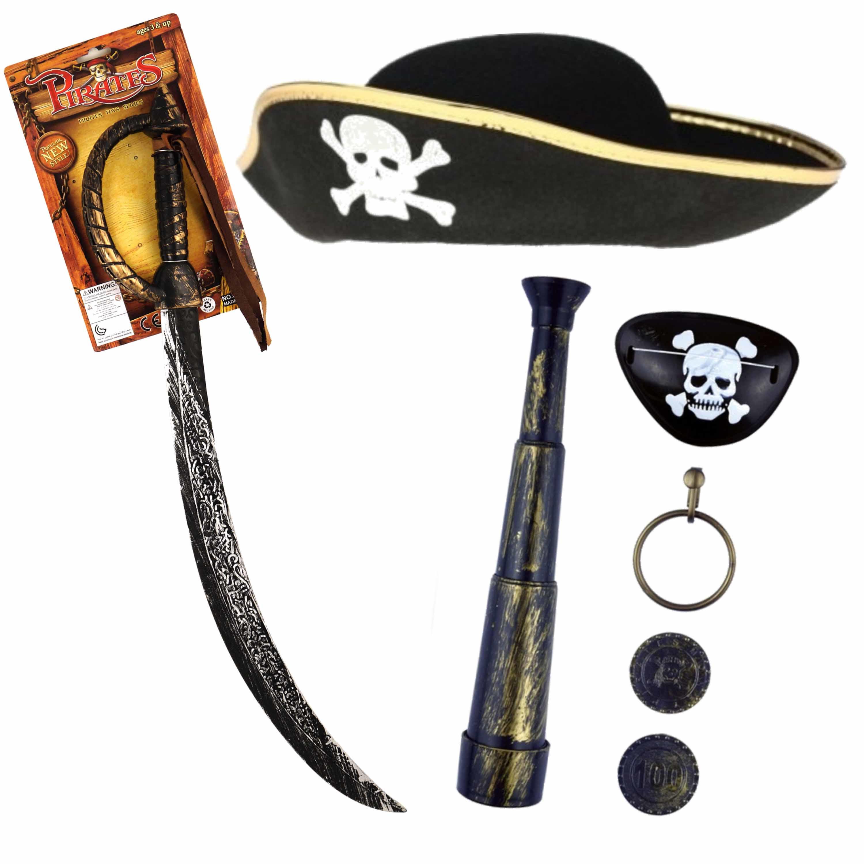 Verkleedset kinderen - Piraten set - Hoed met accessoires -