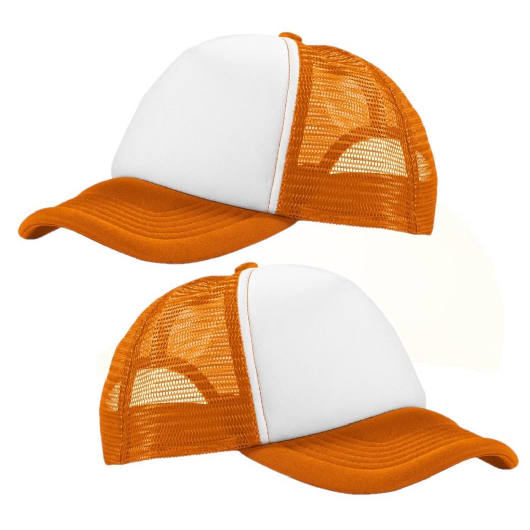 2x stuks truckers cap oranje/wit voor volwassenen -