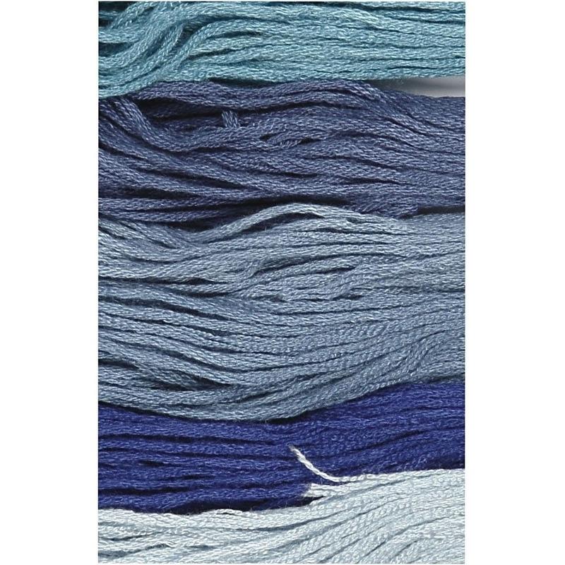12x Hobby naaigaren/borduurgaren blauwtinten 1mm -